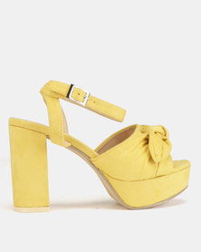Legit Low Platform Heels with Ankle Strap & Bow Detail Yellow