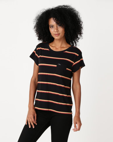 RVCA Big Stripe Tee Black/orange
