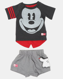 adidas Originals Mickey Tee And Shorts Set Grey