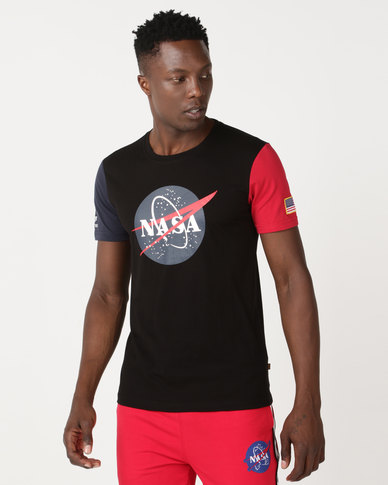 best sneakers 940cc 8591f Alpha Industries NASA Print T-Shirt Black