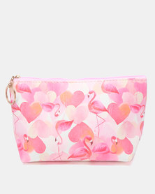 Lily & Rose Hearts & Flamingo Cosmetic Bag Pink