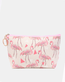 Lily & Rose Flamingo And Triangle Cosmetic Bag Pink