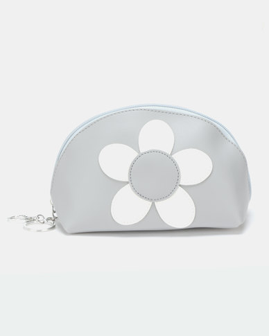 Lily & Rose Round Purple Flower Cosmetic Bag Grey