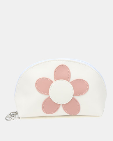 Lily & Rose Round Flower Cosmetic Bag White