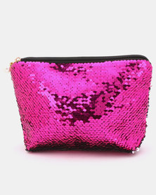 Lily & Rose Sequin Cosmetic Bag Purple/Silver