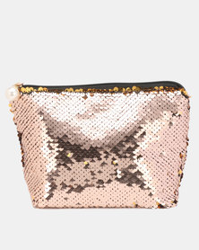 Lily & Rose Sequin Cosmetic Bag Nude/Gold