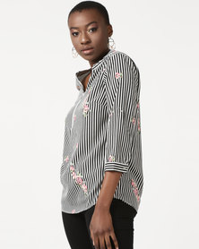 Queenspark Zip Stripe & Flower Woven Shirt Black