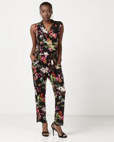 Queenspark Tropical Print Knit Jumpsuit Black