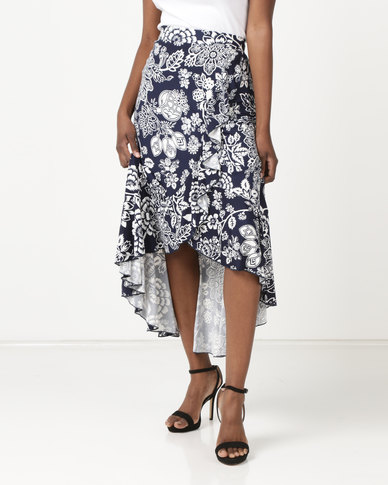 Queenspark Ruffle Flaminco Knit Skirt Navy