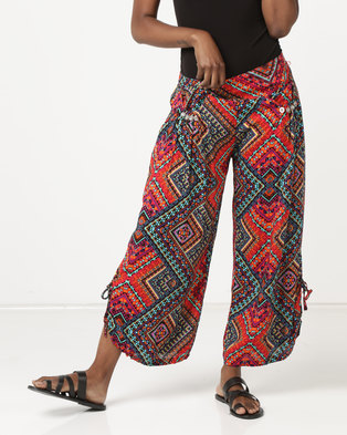 Queenspark Printed Woven Capri Trousers Multi