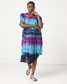 Queenspark Tie Dye Oriental Print Tunic Woven Dress Multi
