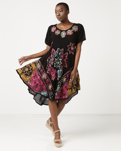 Queenspark Floral Oriental Print Tunic Woven Dress Black
