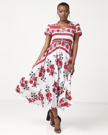 Queenspark Floral Printed Short Sleeve Maxi Dress Red