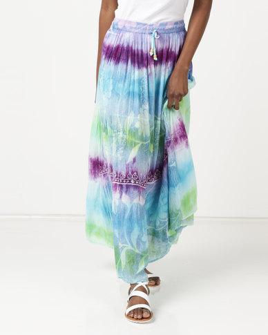 Queenspark Summer Print Maxi Woven Skirt Multi