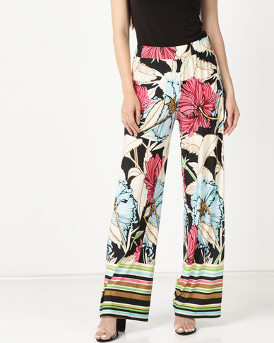 cath.nic By Queenspark Large Floral Print Knit Trousers Multi