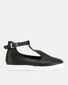 KG Ankle Strap Slip Ons Black Floater