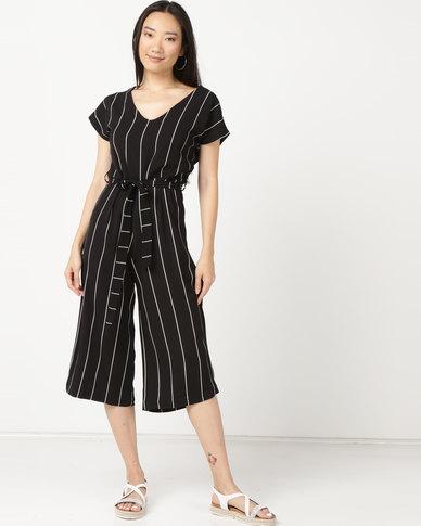 Legit Pinstripe Culotte Jumpsuit With Self Belt Black