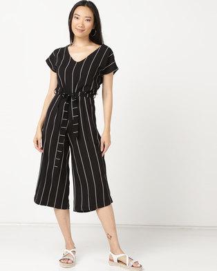 307268830c18 Legit Pinstripe Culotte Jumpsuit With Self Belt Black