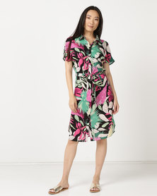 Legit Tropical Shirt Dress Multi
