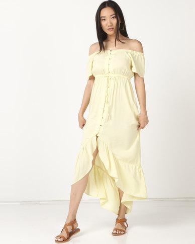 Legit Bardot Frill Button Thru Maxi Dress Light Yellow
