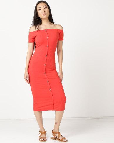 Legit Bardot Button Thru Tube Dress Tangerine
