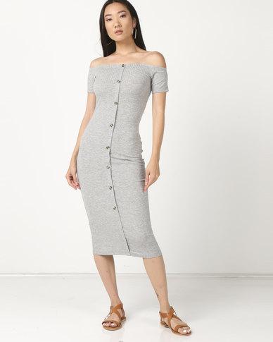 Legit Bardot Button Thru Tube Dress Grey