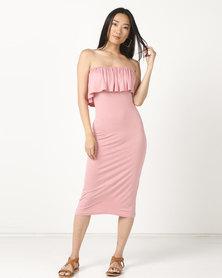 Legit Boobtube Frill Tube Dress Blush