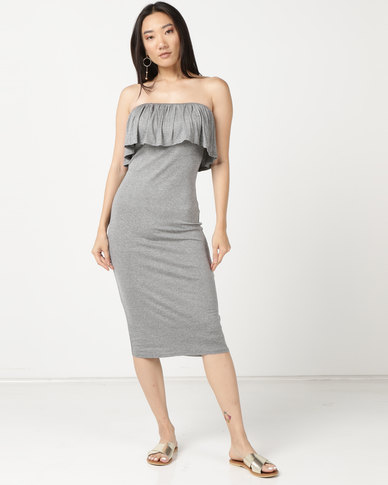 Legit Boobtube Frill Tube Dress Grey