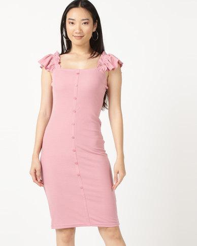 Legit Rib Button Through Miid Dress Blush