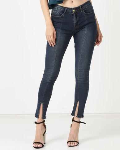 Legit Front Panel Split Ankle Skinny Jeans Ink