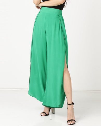 Legit Overlap Slit Wideleg Pants Green