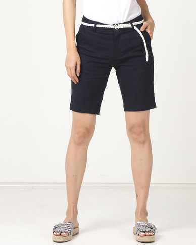 Legit Belted Twill Bermuda Shorts Navy