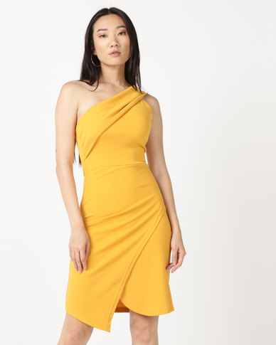 Legit One Shoulder Wrap Skirt Detail Bodycon Mustard