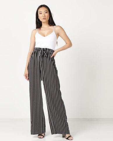 Legit Strappy Stripe Wide Leg Pants Black