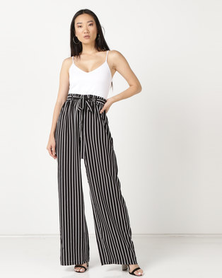 09ec3c89d2b Legit Strappy Stripe Wide Leg Pants Black