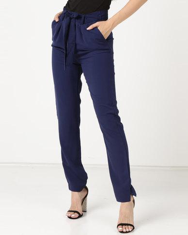 Legit Tie Belt Slim Leg Pants Navy