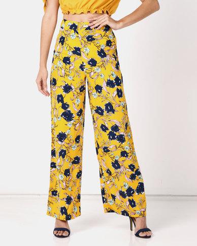 Legit Floral Wide Leg Pants Mustard