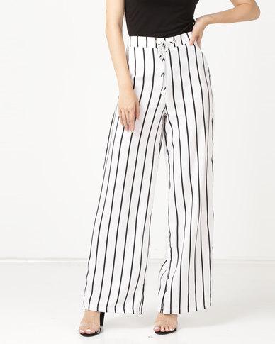 Legit Stripe Wide Leg Pants White