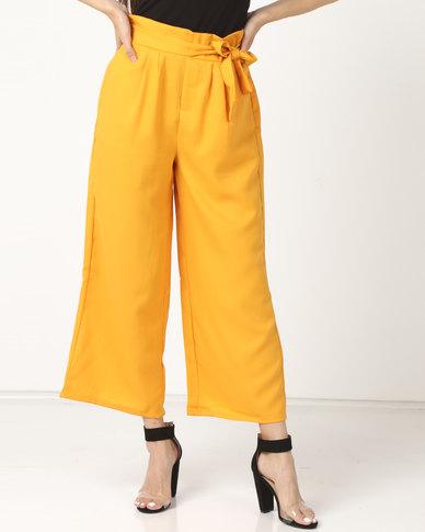 Legit Self Tie Paperbag Culotte Pants Mustard