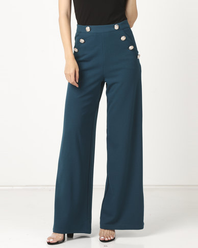 Legit Wide Leg Sailor Detail Pants Teal