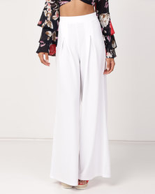 Legit Tie Detail Wide Leg Pants White