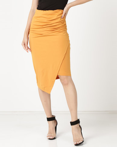 Legit Side Ruched Wrap Detail Skirt Mustard