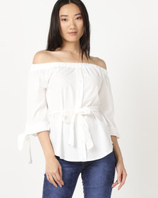 Legit Button Front Belted Blouse White