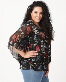Queenspark Plus Printed Mesh Styled Knit Top Black