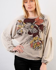 Marique Yssel Bishop Sleeve Sweatshirt With Screen Print Grey