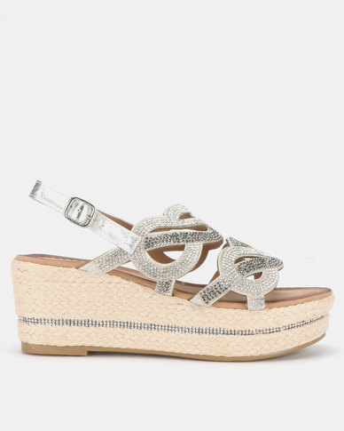 Queenspark Metallic Diamantes on Rope Unit Metallic Wedges Multi
