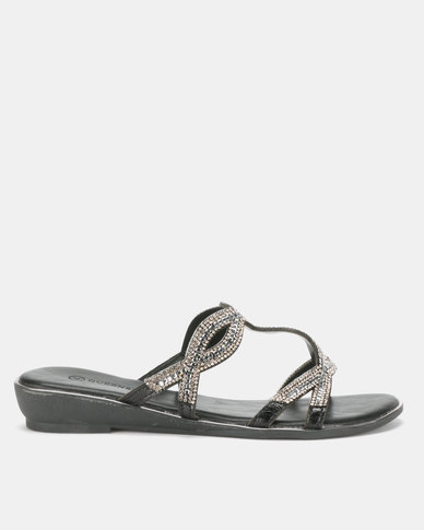 Queenspark Twisted Baguette Trim Sandals Black