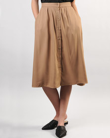 Marique Yssel Button Down Skirt Taupe