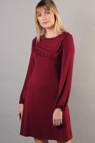 Marique Yssel U-Frill Babydoll Dress Wine