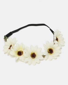 Jewels and Lace Flower Headband Daisies Cream